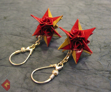Spiral Star Earrings designed and folded by Grzegorz Bubniak