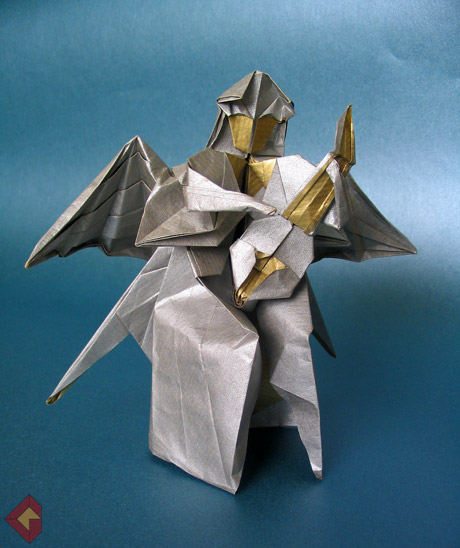 Angel Playing Lute designed by Fumiaki Kawahata and folded by Grzegorz Bubniak