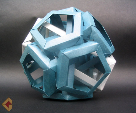 Six Intersecting Pentagonal Prisms designed by Daniel Kwan and folded by Grzegorz Bubniak